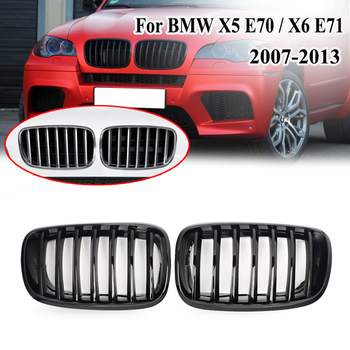 MagicKit 2PCS Front Glossy Black Dual Slat Bumper Kidney Grille Grill For BMW E70 X5 E71 X6 2003 2004 2005 2006 2007 2008 2009