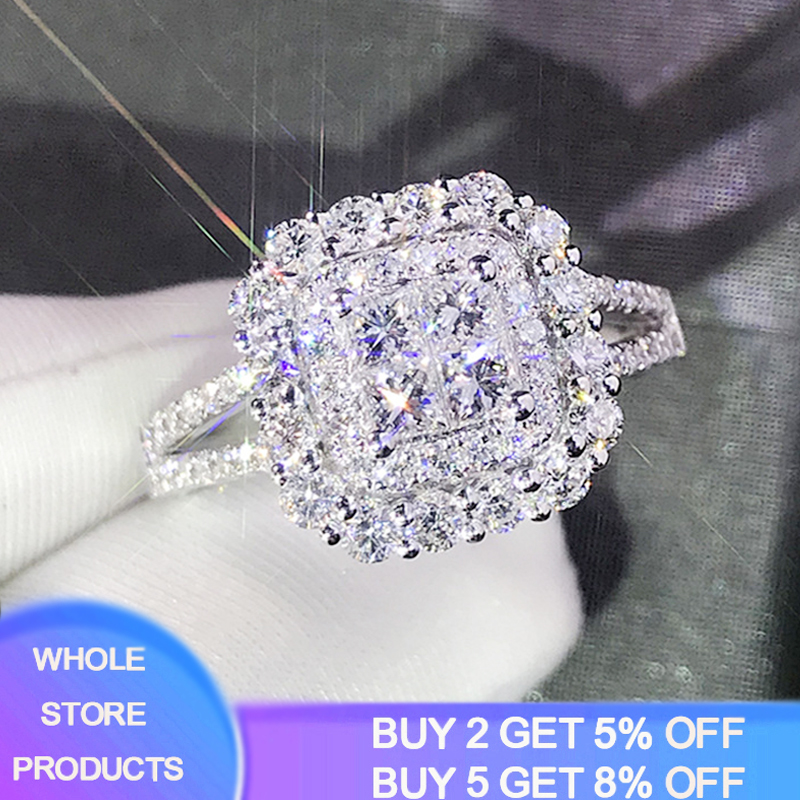 YANHUI Exquisite Princess Cut Cubic Zirconia Wedding Ring 925 Sterling Silver Jewelry Best Gifts for Ladies Women R1214 image