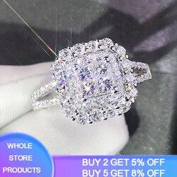 Yanhui Prachtige Princess Cut Cubic Zirconia Wedding Ring 925 Sterling Zilveren Sieraden Beste Cadeaus Voor Dames Vrouwen R1214