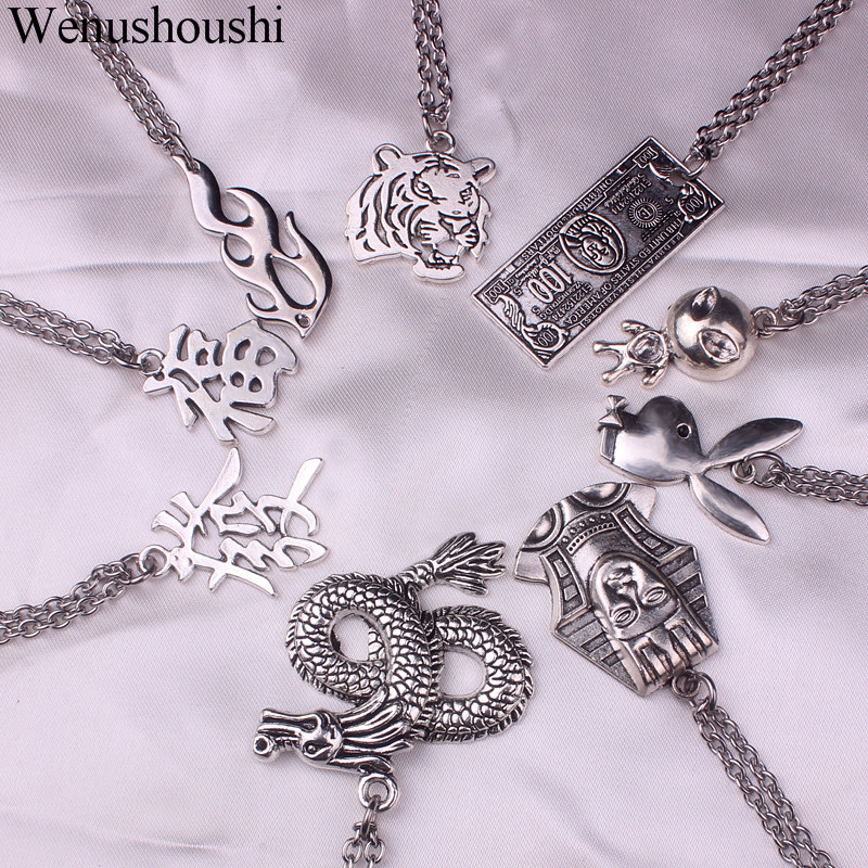 stainless steel chain 3mm trendy angel Play rabbit head tiger unicorn Necklace women unisex jewelry new punk flame necklaces men(China)
