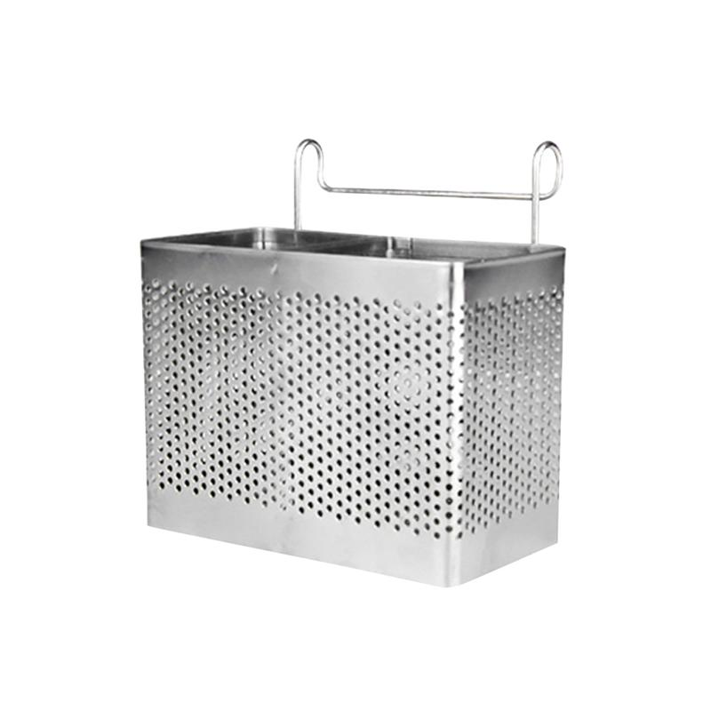 Rectangular Stainless Steel Chopsticks Holder Hanging Cutlery Drying Basket Tableware Drainer With Hooks Kitchen Utensil
