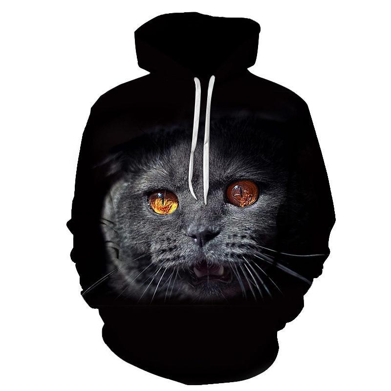 Women's Two Cat Sweatshirts Long Sleeve 3D Hoodies Sweatshirt Pullover Tops Blouse Pullover Hoodie Poleron mujer Confidante Tops 89