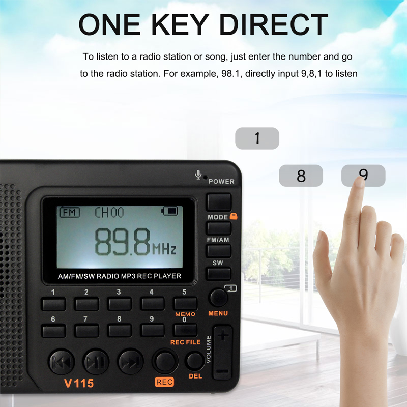 RETEKESS V115 Radio AM FM SW Pocket Radio Shortwave FM Speaker Support TF Card USB REC Recorder Sleep Time 3