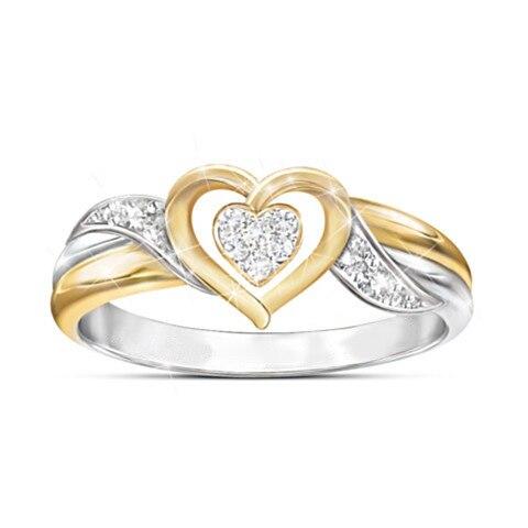 Bonito do sexo feminino pequeno anel de coração moda nupcial dedo anel de casamento mãe amor jóias ouro promessa anéis de noivado para mulher