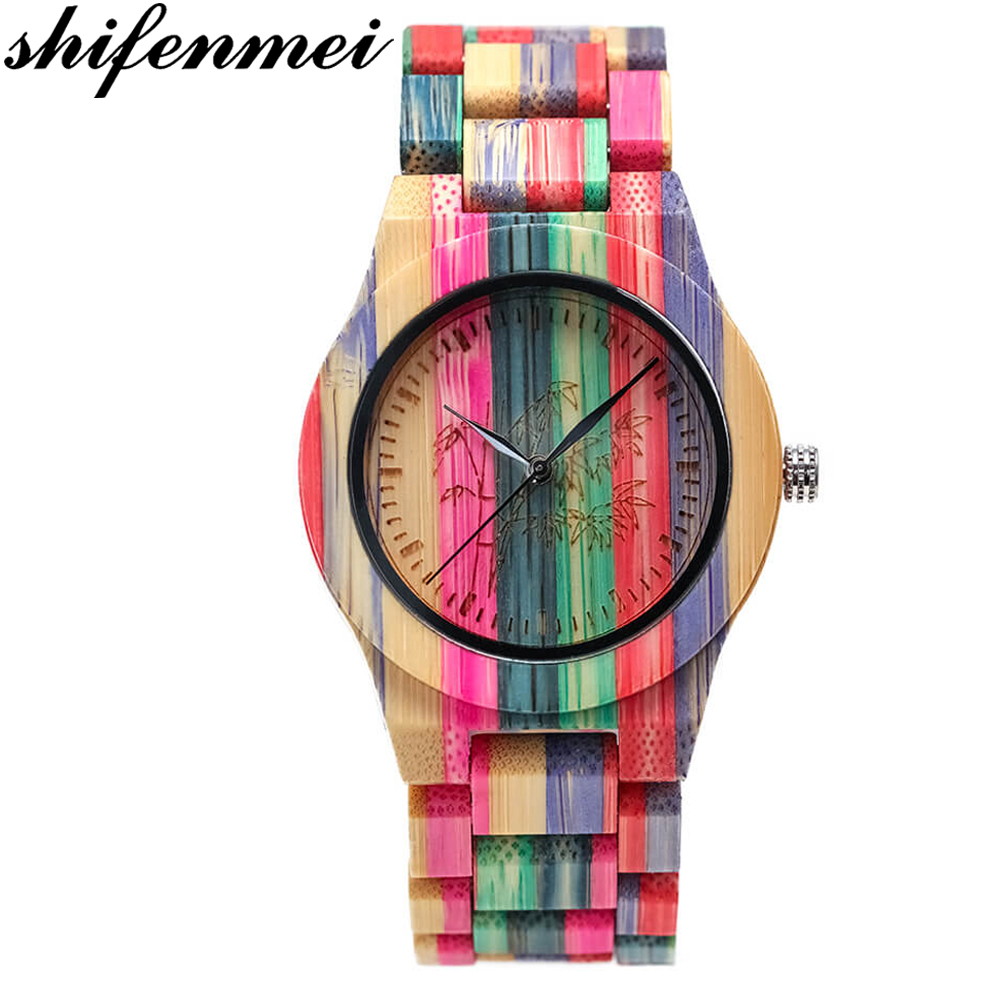 Luxury Brand Wristwatches Bracelet Wooden Quartz Handmade Women Lovers Colorful Bamboo