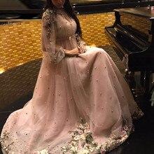 ドバイアラビアロング真珠フォーマルイブニングドレス 2020 新クチュールイスラムレースビーズウエディングドレスパーティードレスカスタムメイドカフタン