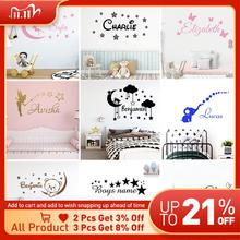 Cartoon Personalized Custom Name Wall Sticker Decals Murals Poster For Kids Babys Room Decoration Bedroom Decor