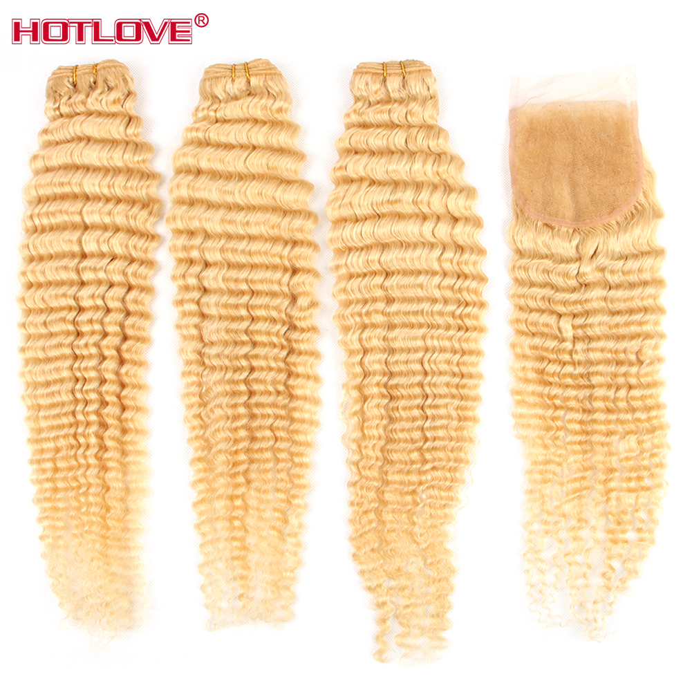 Brazilian Hair Loose Deep Wave 613 Blonde Bundles With Closure Free Part 100% Human Hair Weave Bundles With Closure Remy Hair image