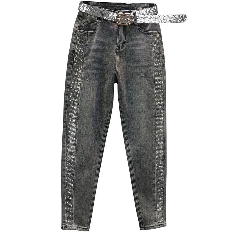 Plus Size 26-32!spring Autumn Fashion Hot Rhinestone Jeans Women High Waist Loose Harem Pants