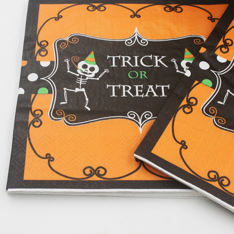 [] Color Printed Napkin Halloween Wizard Bat Paper Towel Party Bar Decoration Hot Selling