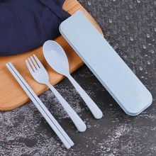 Baby Children 3Pcs Portable Eco-Friendly Cutlery Set Chopstick Spoon Fork Camping Picnic Sets
