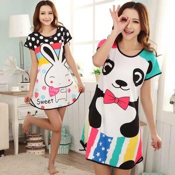 Summer Nightgowns O-neck Cute Cartoon Women's Sleepwear Nightwear Sleep Nightdress Home Dress Fashion 1