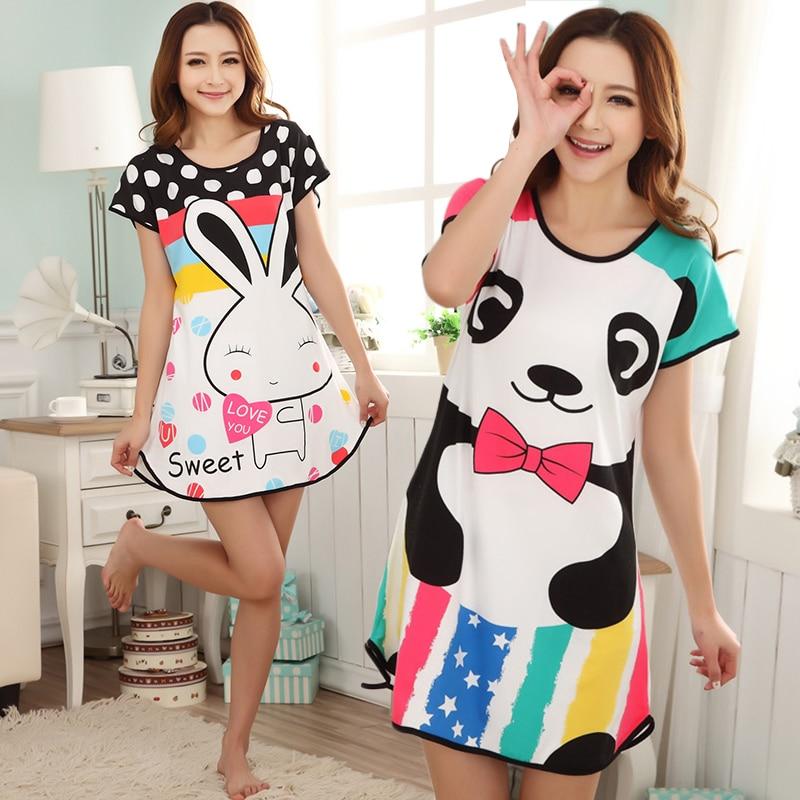 Summer Nightgowns O-neck Cute Cartoon Women's Sleepwear Nightwear Sleep Nightdress Home Dress Fashion