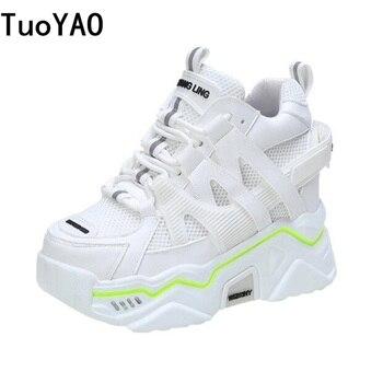 Zapatillas gruesas de plataforma para mujer, zapatos de moda con cordones para papá mayor, zapatillas transpirables de malla para mujer, zapatos casuales azules para mujer, otoño 2020