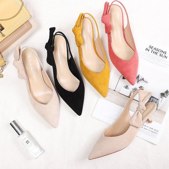 2020 เซ็กซี่บางรองเท้าส้นสูงรองเท้าผู้หญิงหนัง Faux Suede หนัง Pointed Toe ปั๊มสำนักงาน Lady Butterfly Knot รองเท้าแตะผู้หญิง