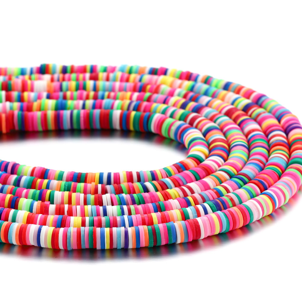 15Inch 3 4 5 8mm Flat Round Clay Beads Polymer Mixed Colors Spacer Loose Beads For DIY Jewelry Making Findings Supplies Bracelet(China)