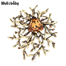 Wuli&baby Quality Original Designer Brooches Metal Geometry Brooch Pins For Women 2021 New Year Gift