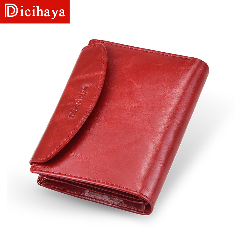 DICIHAYA Genuine Leather RFID Vintage Wallet Women With Coin Pocket Short Wallets RED Small Walet With Card Holders Female Purse