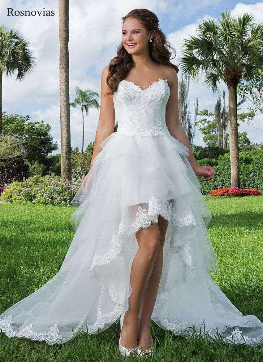 Hot Selling Country Hi Lo Wedding Dresses 2020 Strapless Open Back Tiered Skirts High Low A Line Bridal Gowns Vestido De Novia Aliexpress