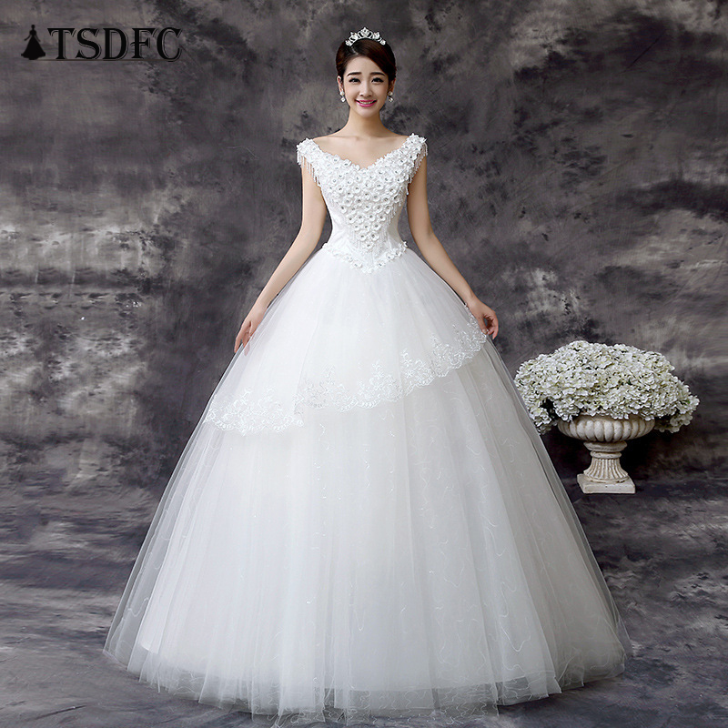 Ball Gowns Spaghetti Straps White Ivory Tulle Wedding Dresses 2019 with Pearls Bridal Dress Marriage Customer Made Size 2018