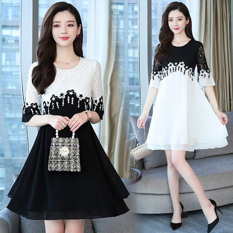 646 #2019 Summer New Style Lace Joint Lace-up Black And White Slim Fit Big Hemline Dress Short Sleeve Bell Sleeve Crew Neck
