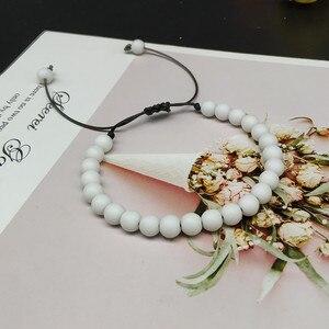 Image 5 - Мужской браслет с натуральными бусинами, 6 мм, черный белый браслет для медитации, Женский молитвенный браслет, Ювелирное Украшение для йоги