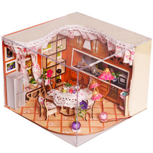 DIY doll house wooden hand assembled house warm family living room model home furnishing birthday creative gift 247