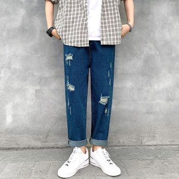 Summer Ripped Straight Jeans Men's Fashion Washed Casual Retro Jeans Men Streetwear Loose Hip Hop Hole Denim Trousers Mens straight jeans men s fashion washed casual retro ripped jeans pants men streetwear wild loose hip hop ripped denim trousers mens