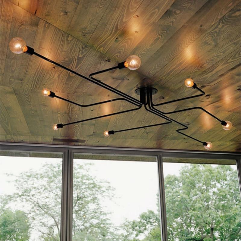 Multiple Rod metal Ceiling Light sputnik chandelier Vintage Iron Lamp Edison Lamparas Home Lighting Fixture Kitchen island