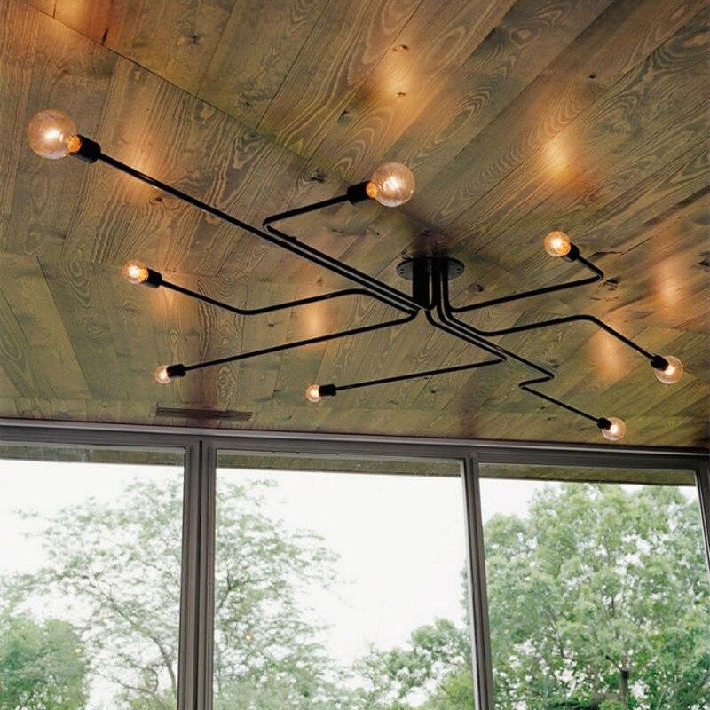 Wiele prętów metalowe lampy sufitowe sputnik żyrandol żelazo, w stylu vintage lampa Edison Lamparas oświetlenie domu kuchnia wyspa