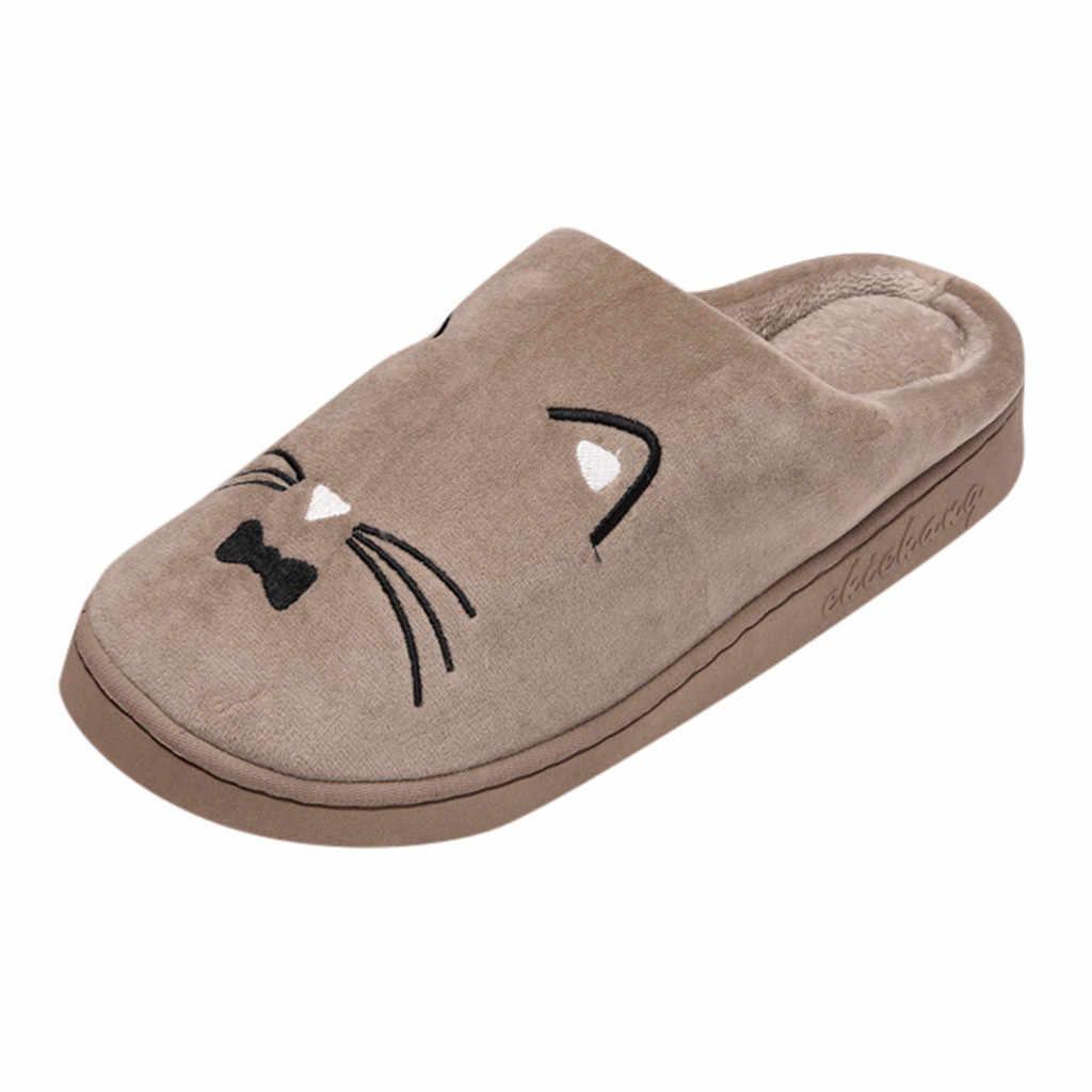 Schoenen vrouw Kat Non-slip Vloer Thuis Slippers Indoor Schoenen Thuis Slippers Man Winter Warm Katoen gevoerde Slippers zapatos de mujer