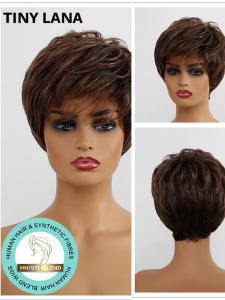 Wigs Bangs Human-Hair Synthetic Short LANA with for Black Women Afro Dark-Brown Side-Part
