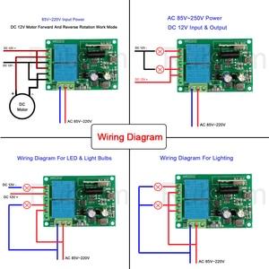 Image 3 - Пульт дистанционного управления Rubrum, Универсальный Радиочастотный релейный Приемник 433 МГц, AC 110 В 220 В, 2 канала, для открывания Гаражных дверей, светильник