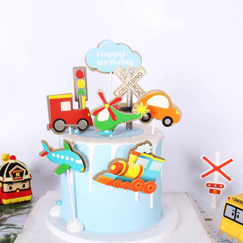 신호등 기관차 비행기 케이크 장식 레일 도로 횡단 케이크 토퍼 아이 생일 축하 파티 용품