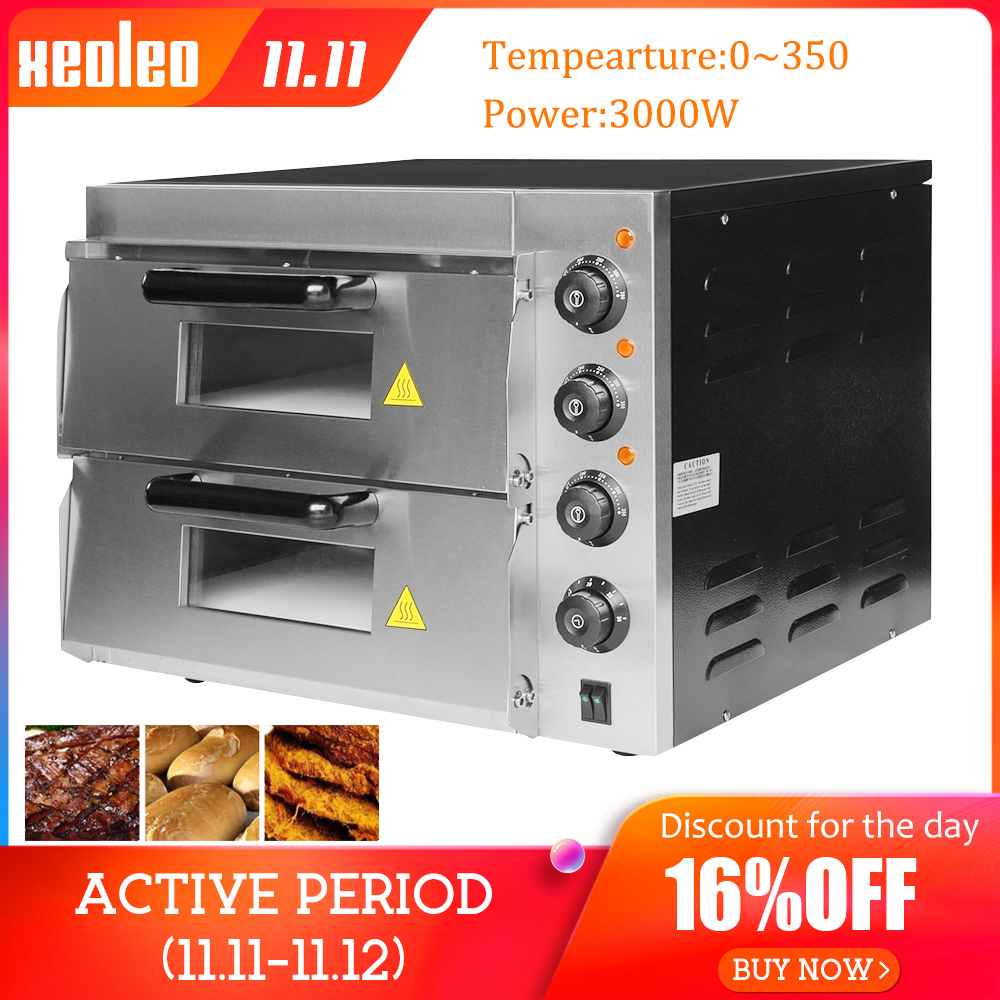 XEOLEO Electric Baking oven Pizza machine Commercial Double layer Bakery ~350 degree 16inch 3000W