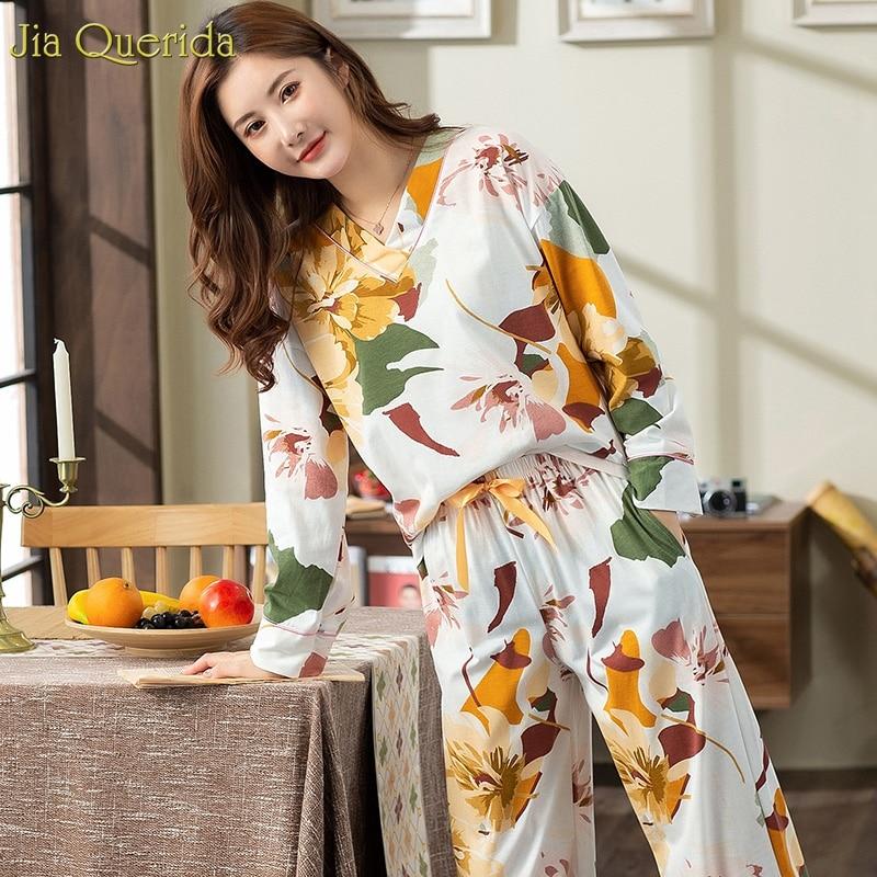New Pyjamas Women Plus Size Pajamas White Floral Printing V-collar Trendy Lingerie Home Suits Wide Legs Female Cotton Sleepwear 1