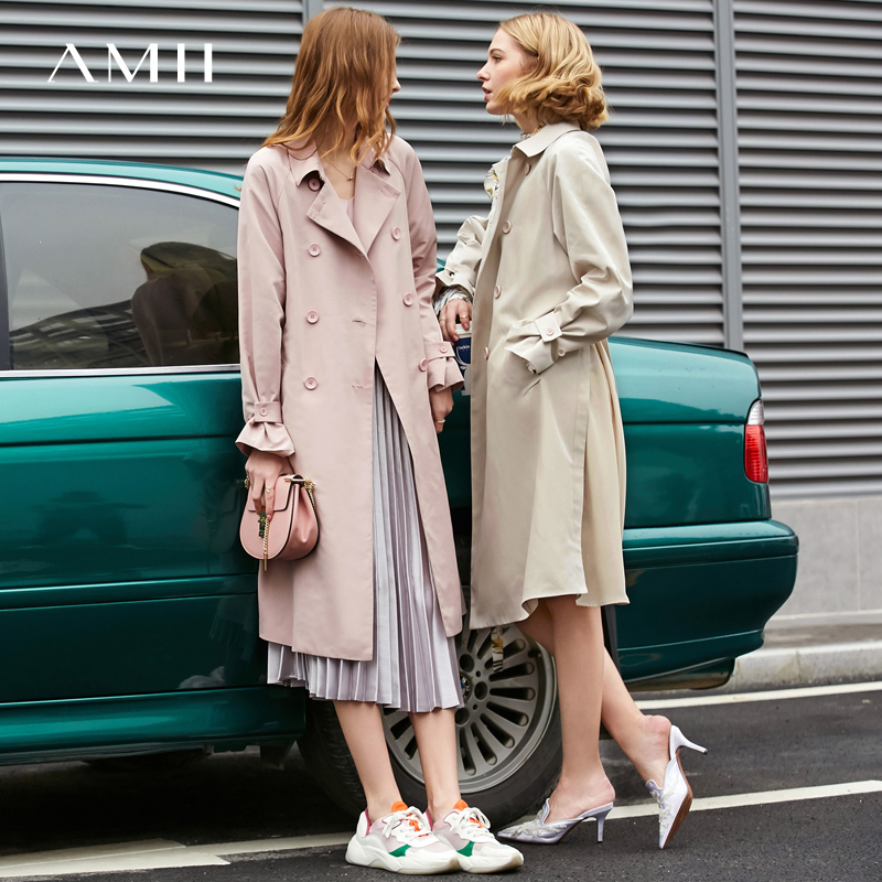 Amii Minimalist Double Breasted Trench Coat Spring Women Elegant Lapel Solid Female Mid Long Jackets 11970262