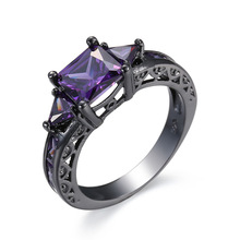 2019 New Fashion Vintage Women Purple Crystal Ring For Black Gold Filled Zircon Engagement Wedding Rings