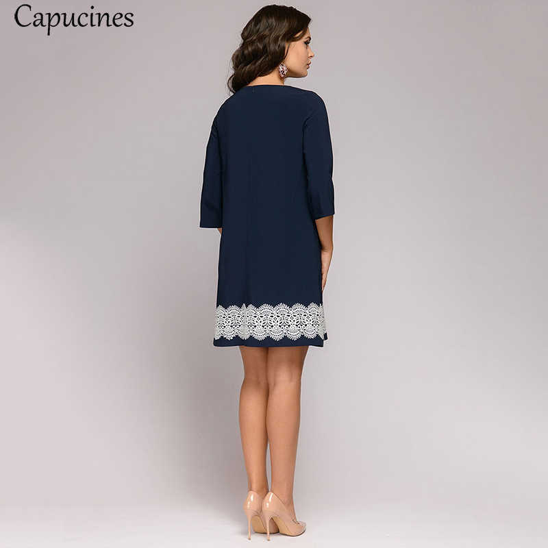 Lace Patchwork Women Dress Autumn Round Neck Three Quarter Sleeve Navy Blue Mini Dresses Minimalist Casual Straight Dress