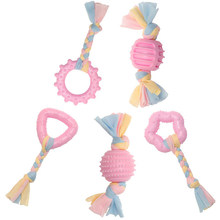 Puppy Chew Rope Toys, Dog Durable Teething Toy with Pink and Blue Rope for Small Dogs and Pet, Star & Ball & Stick(China)