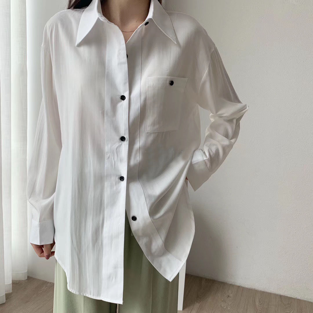 2020 Spring Long Sleeve Blouses Tops Women Loose Oversized Long Shirts Korean White Leisure Shirts Black Button