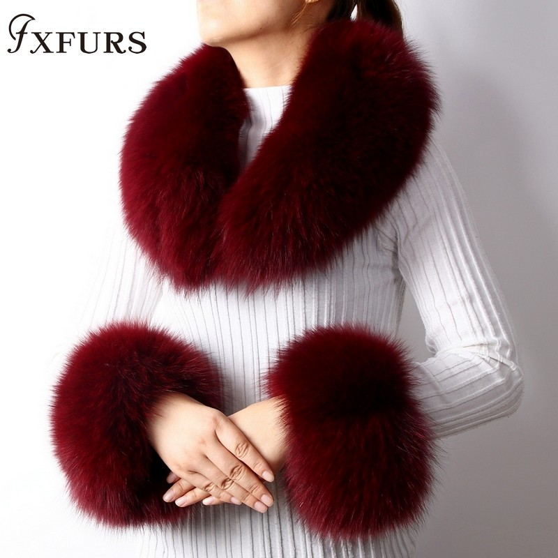 2019 New Fox Fur Collars Real Fur Cuffs Raccoon Fur Scarves A Set Winter Warm Fur Scarves Cuffs Match Cashmere Overcoats Accessory Luxury