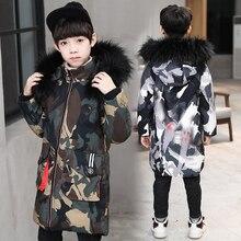 Erkek kamuflaj pamuk ceketler çocuk uzun bölüm kalınlaşma ceket ceket çocuklar kış sıcak büyük kürk yaka kapşonlu palto