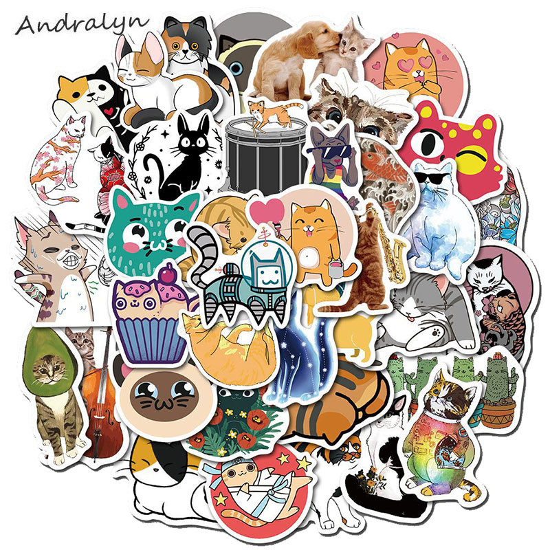 50 Pcs/Set Box New Cute Sick Cat Stickers For Luggage Skateboard Desk Laptop Motorcycle Guitar Phone Bicycle Fuuny Toys Sticker