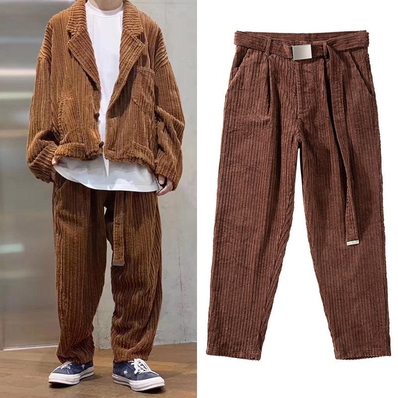 Corduroy Sashes Straight Mens Pants Loose Streetwear Pockets Thick Strip Cargo Pants Harajuku Japanese Baggy Track Pants