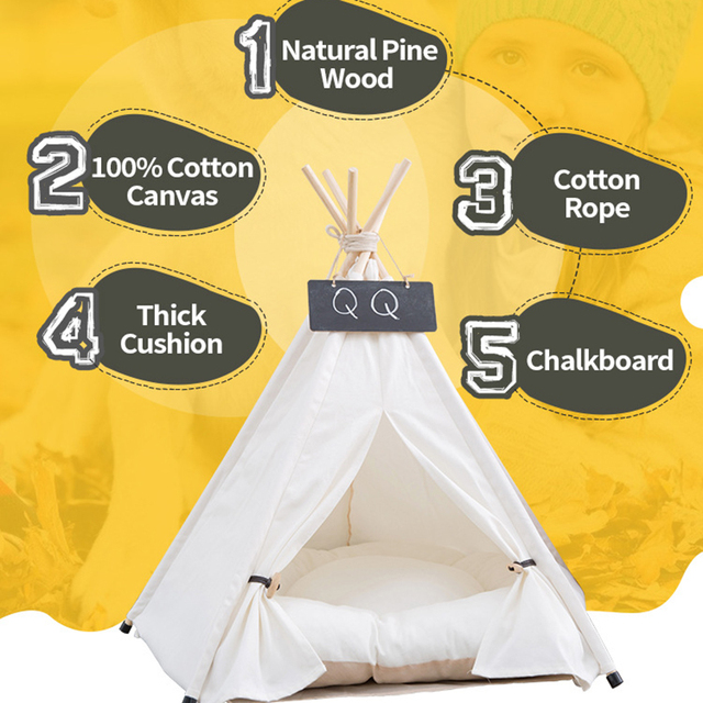Pet Tent House Cat Bed Portable Teepee With Thick Cushion And 6 Colors Available For Dog Puppy Excursion Outdoor Indoor 2