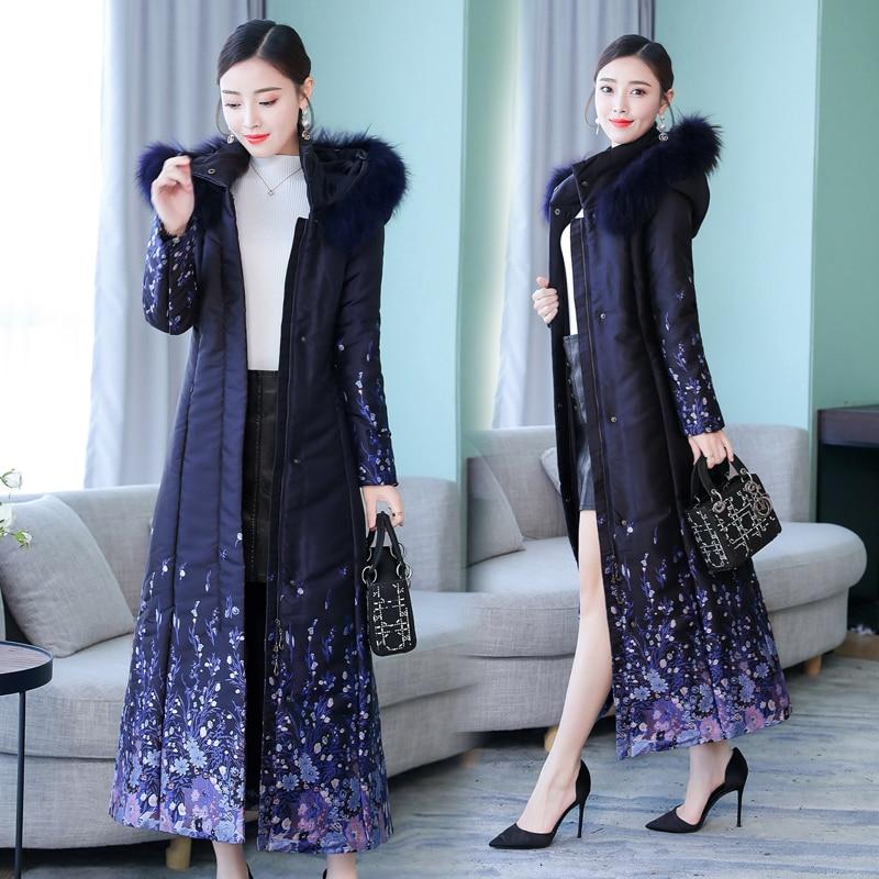 Winter Parka Coat Jacket for Women Long Thick Warm Hooded Plus Size Large Elegant Print Jacquard Navy Blue Outerwear slim Coats