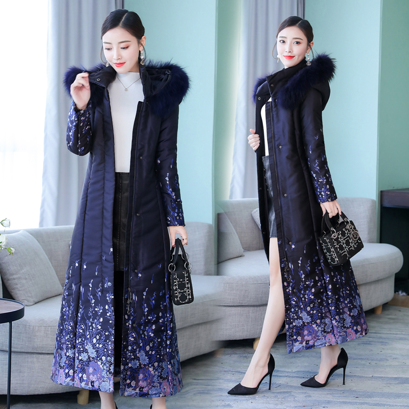 Winter   Parka   Coat Jacket for Women Long Thick Warm Hooded Plus Size Large Elegant Print Jacquard Navy Blue Outerwear slim Coats