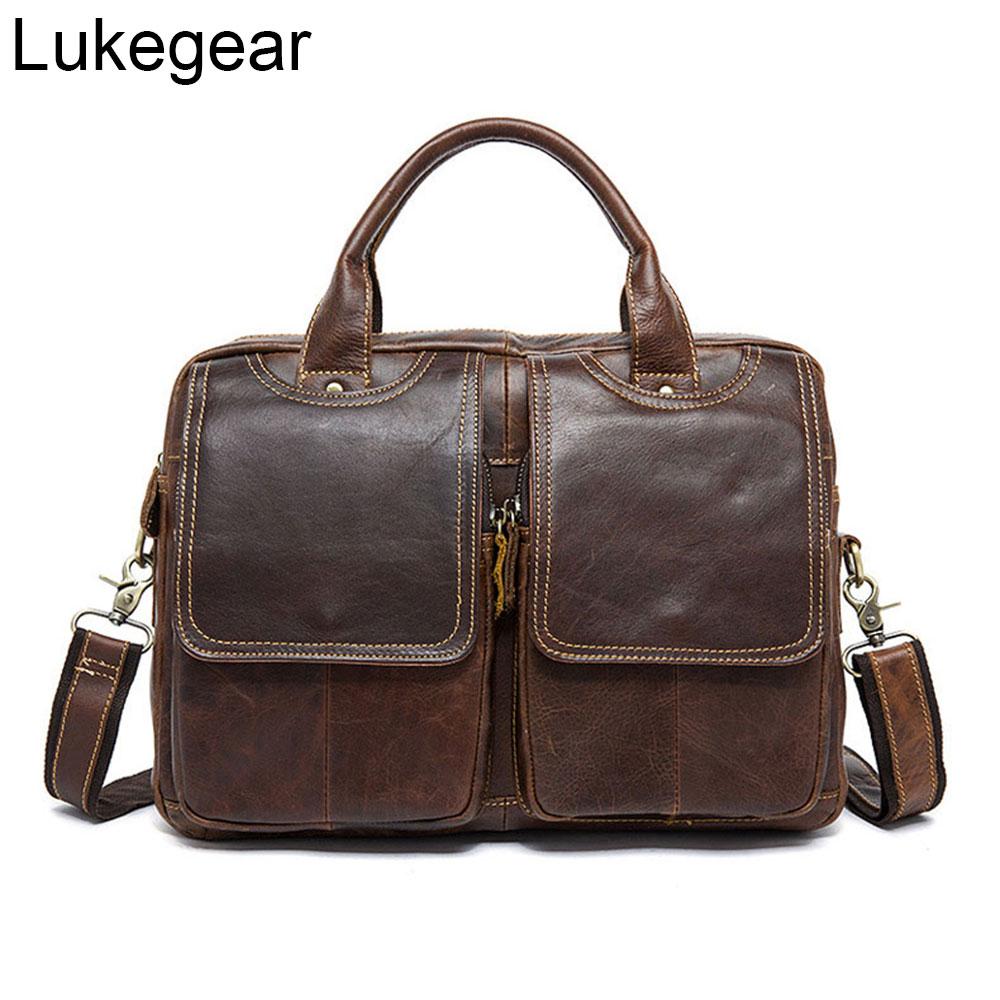 Lukegear Mens Large Leather Shoulder Bag Cowhide Leather Laptop Briefcase For Women Fits 17 15.6 Inch Laptop