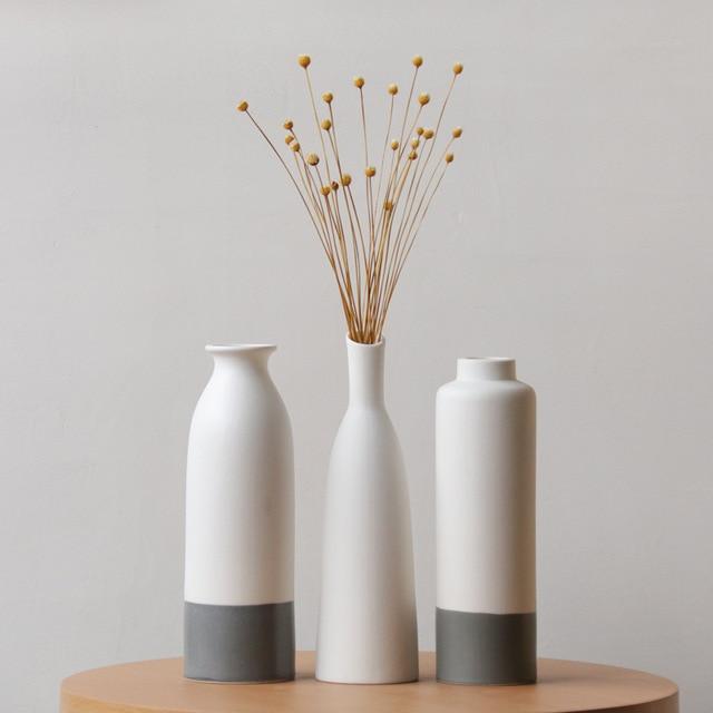 White ceramic vase living room decoration home decor flower container modern wedding centerpiece Table Top Vase for Floral H22cm 2